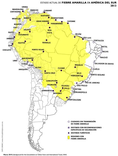 Distribución Fiebre Amarilla Sudamérica