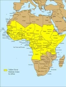 Distribución Fiebre Amarilla África