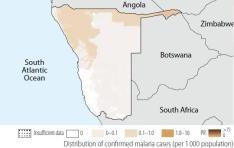 namibia casos malaria confirmados