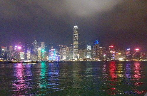 Kowloon waterfront light show.