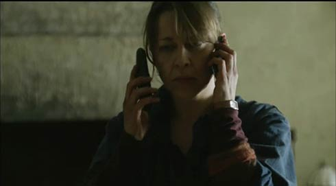 Gillian on two phones