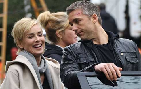 Sharon Stone and Jeff Hephner on the set of Agent X.
