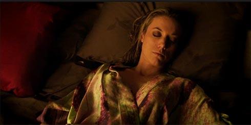 Lauren sleeping in Bo's kimono.