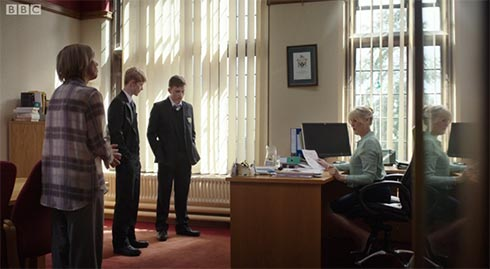 Lawrence and Angus in Caroline's office