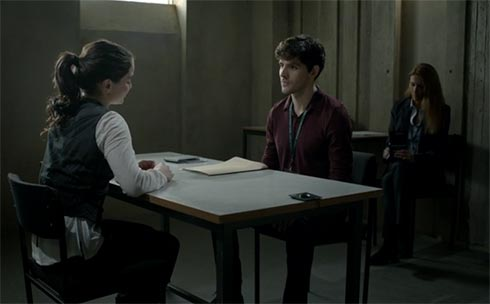 Colin Morgan as Tom Anderson questions Katie