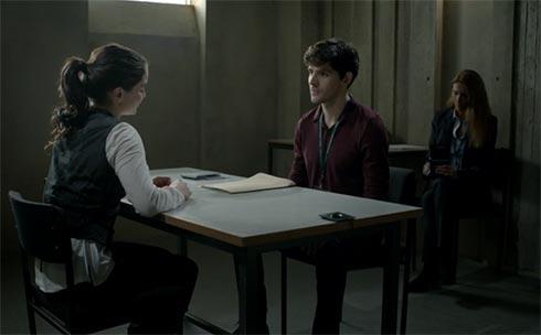 Colin Morgan as Tom Anderson questions Katie