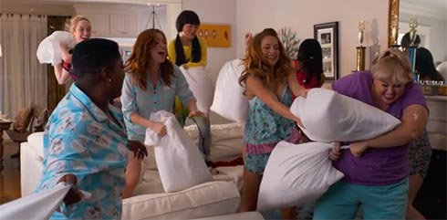 A pillow fight from Pitch Perfect 2