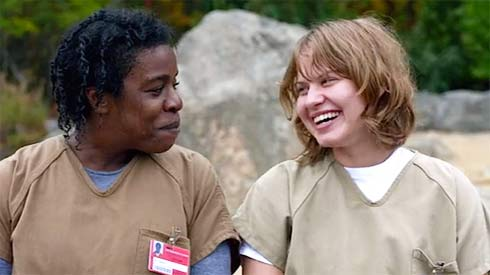Uzo Aduba and Emily Althaus in Orange is the New Black