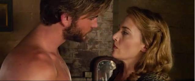 Liam Hemsworth and Kate Winslet in a scene from The Dressmaker