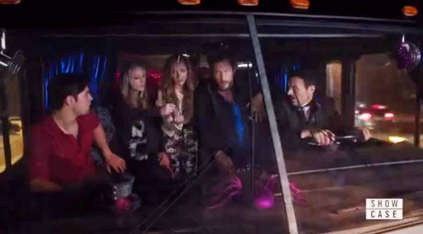 the gang in the caravan