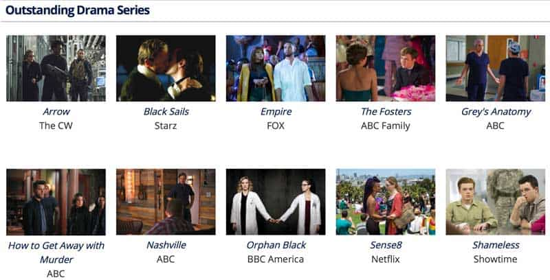 Glaad Media Award Nominees for Drama Series