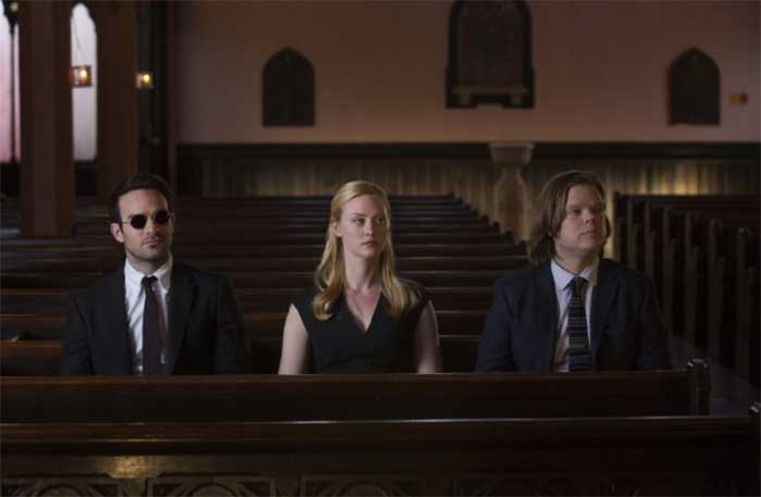 Charlie Cox, Deborah Ann Woll and Elden Henson in Daredevil