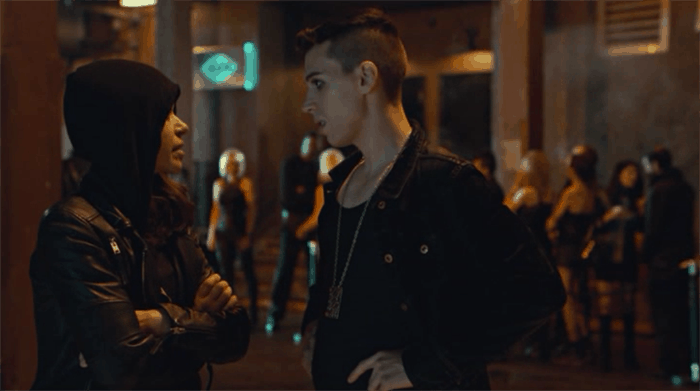 Tatiana Maslany as Sarah and Jordan Gavaris in Orphan Black