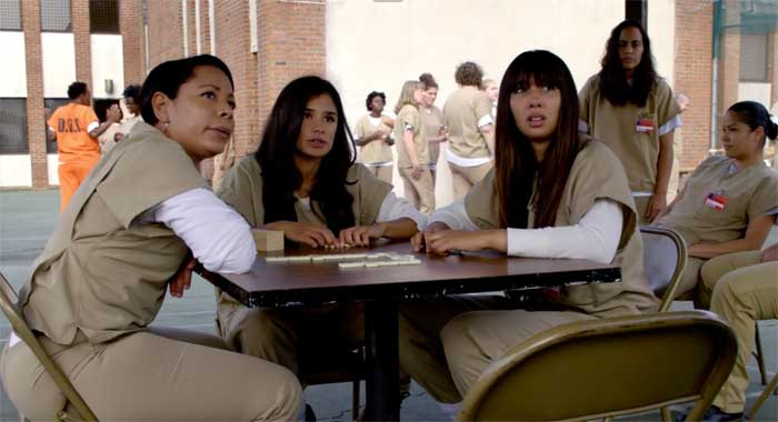 Selenis Leyva, Diane Guerrero and Jackie Cruz in Orange is the New Black