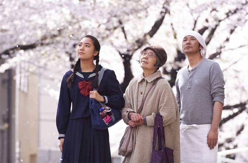 Kirin Kiki, Masatoshi Nagase, and Kyara Uchida in Sweet Bean