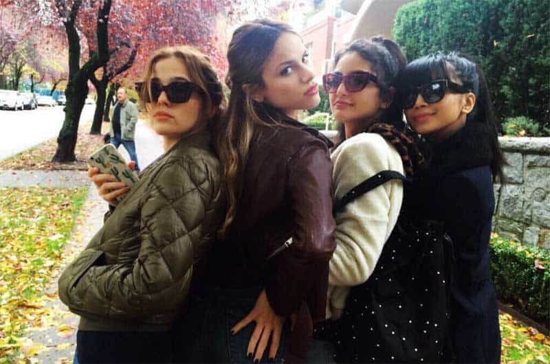 Zoey Deutch, Medalion Rahimi, Halston Sage, and Cynthy Wu at Before I Fall