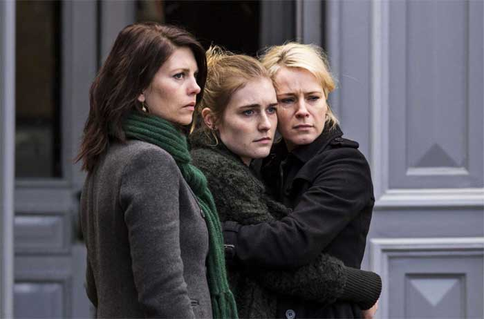 Iben Hjejle, Lærke Winther Andersen, and Emilie Kruse in Dicte - Crime Reporter