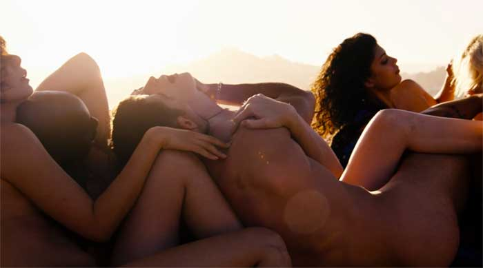 The cast of Sense8 in a group sex scene