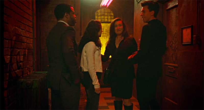 Kevin Hanchard, Tatiana Maslany as Sarah, Maria Doyle Kennedy and Jordan Gavaris in Orphan Black