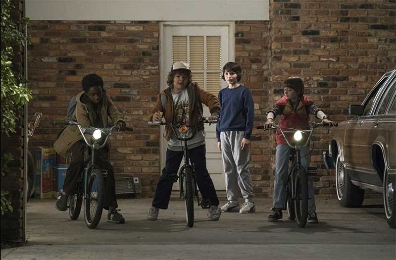 Caleb McLaughlin, Finn Wolfhard, Noah Schnapp, and Gaten Matarazzo in Stranger Things