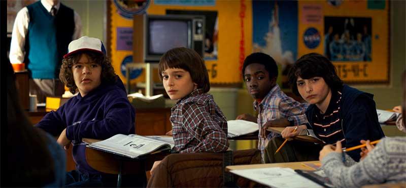 Caleb McLaughlin, Finn Wolfhard, Noah Schnapp, and Gaten Matarazzo in Stranger Things