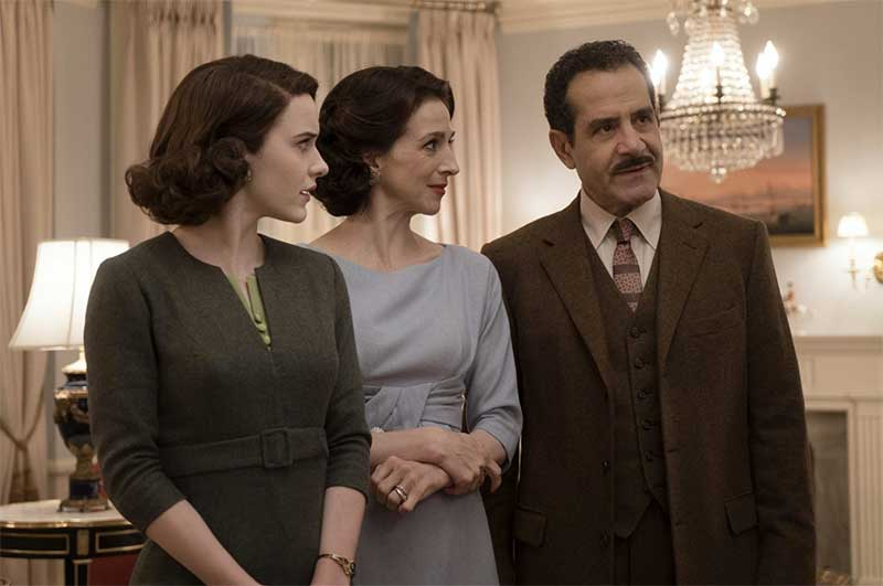 Rachel Brosnahan, Marin Hinkle and Tony Shalhoub in The Marvelous Mrs. Maisel