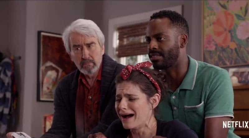 Sam Waterston, Lindsey Kraft and Baron Vaughan in Grace and Frankie