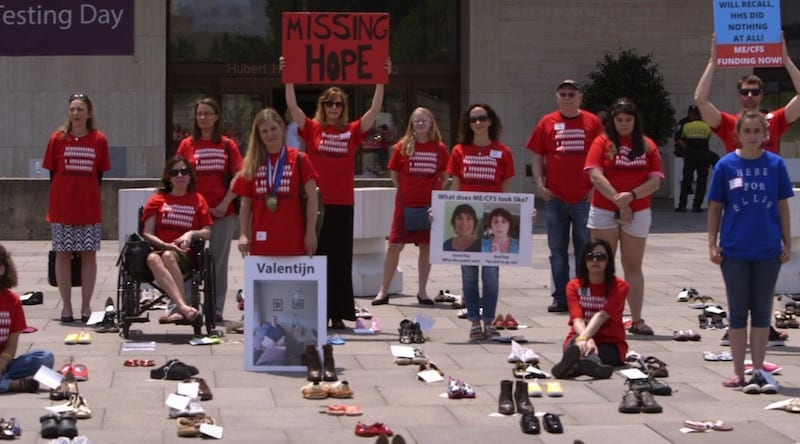 rows of empty shoes for the missing