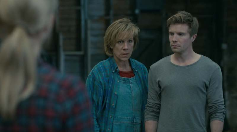 Juliet Stevenson and Joe Dempsie in Retribution