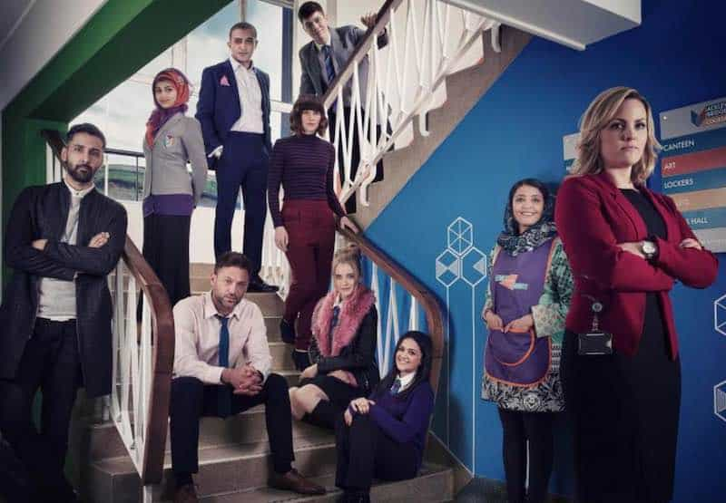 Paul Nicholls, Sunetra Sarker, Liz White, Jo Joyner, Poppy Lee Friar, Adil Ray, Arsher Ali, Amy-Leigh Hickman, and Sam Retford in Ackley Bridge