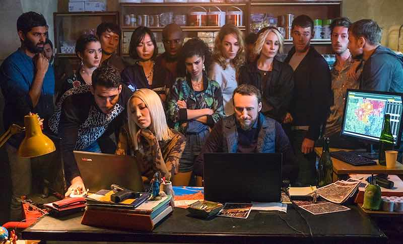 Doona Bae, Max Riemelt, Max Mauff, Purab Kohli, Brian J. Smith, Miguel Ángel Silvestre, Eréndira Ibarra, Tuppence Middleton, Tina Desai, Jamie Clayton, Toby Onwumere, and Ki-Chan Lee in the Sense8 finale