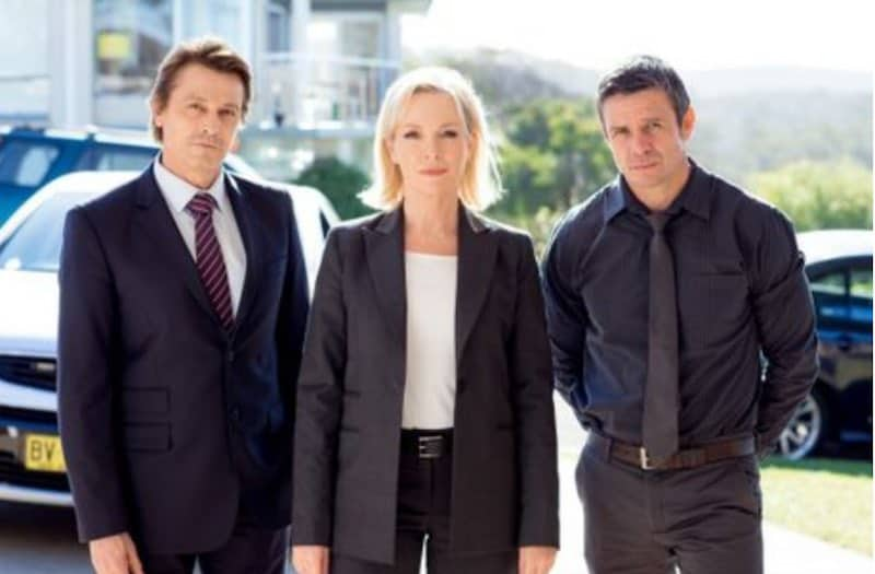 Peter O'Brien, left, Rebecca Gibney and Matt Nable in Winter