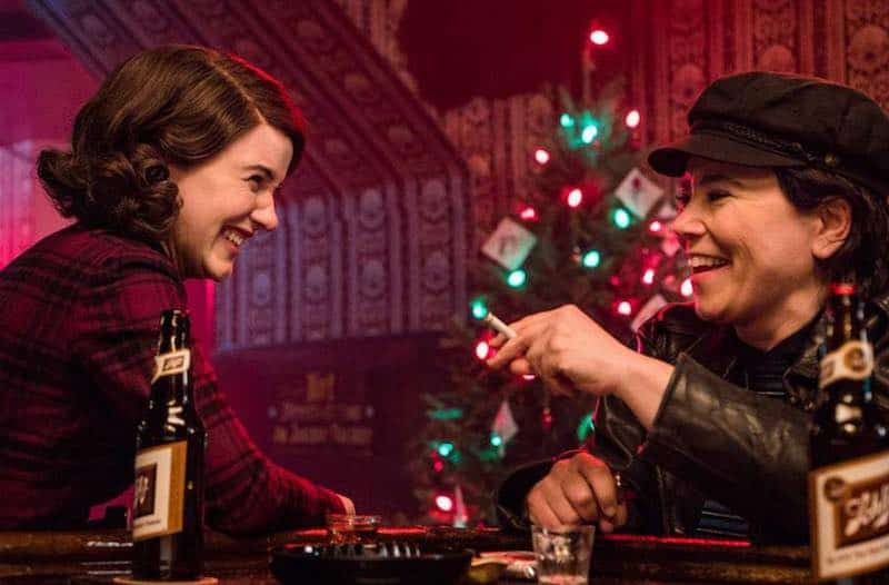 Alex Borstein and Rachel Brosnahan in The Marvelous Mrs. Maisel