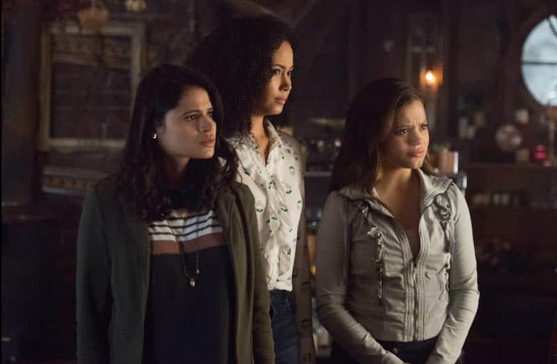 Melonie Diaz, Madeleine Mantock, and Sarah Jeffery in Charmed