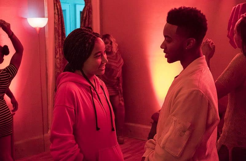 Amandla Stenberg and Algee Smith in The Hate You Give