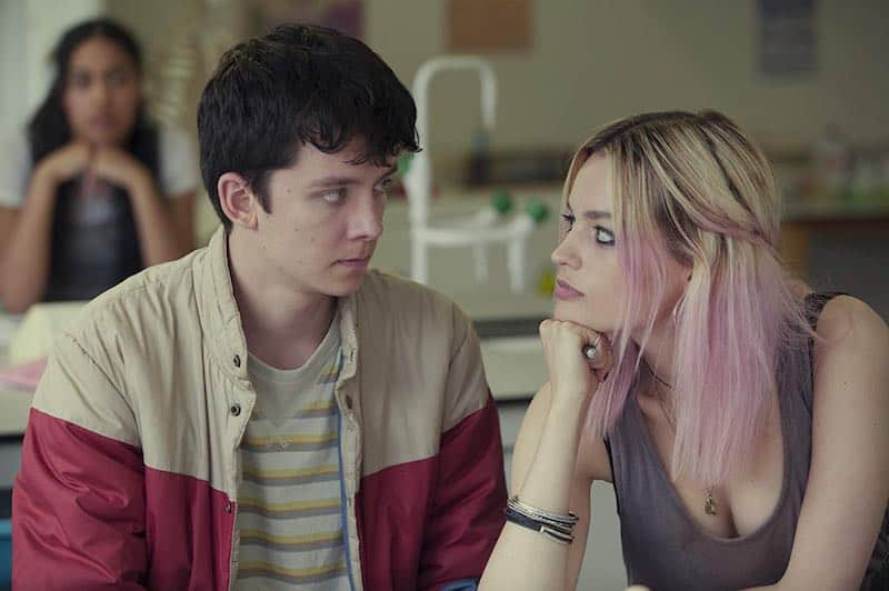 Asa Butterfield and Emma Mackey in Sex Education