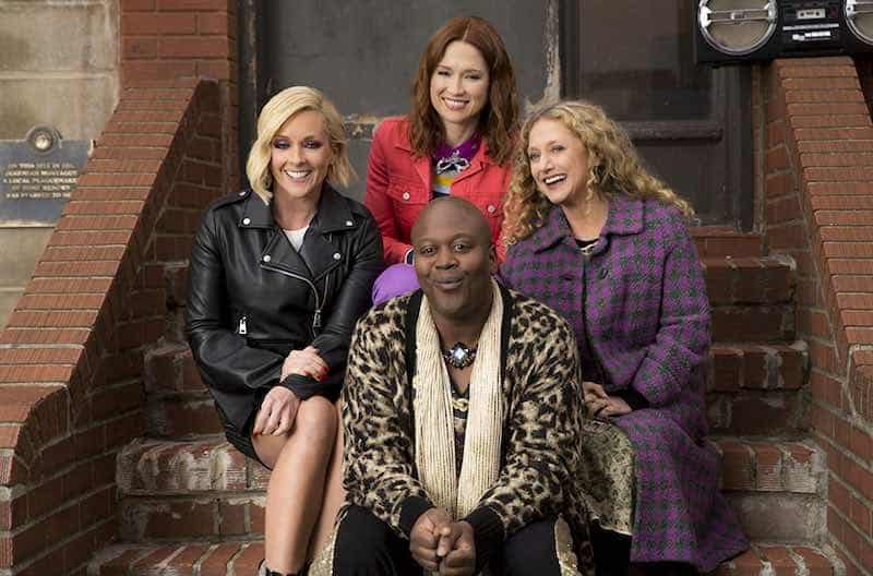 Carol Kane, Jane Krakowski, Ellie Kemper, and Tituss Burgess in Unbreakable Kimmy Schmidt
