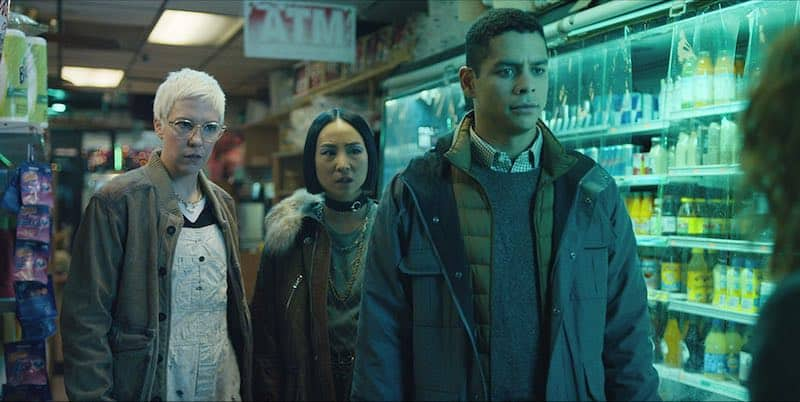 Charlie Barnett, Greta Lee, and Rebecca Henderson in Russian Doll