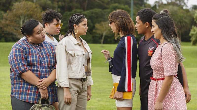 Ana Scotney, Jackie van Beek, James Rolleston, Madeleine Sami  and others in The Breaker Upperers