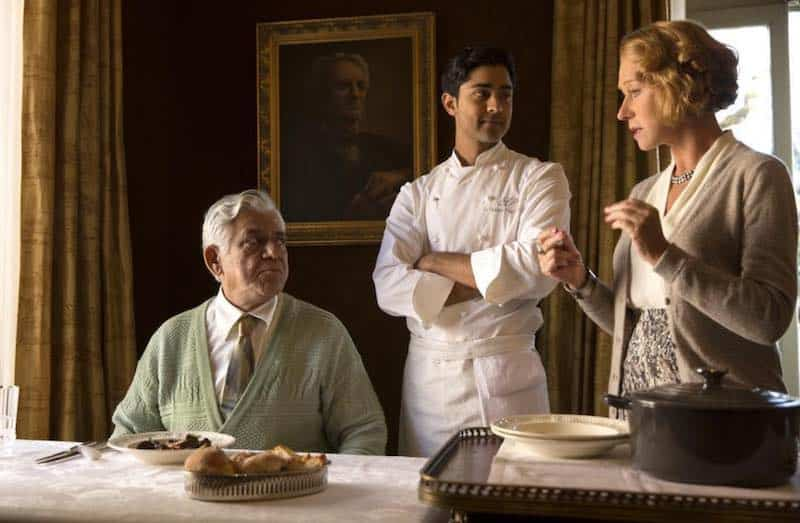 Om Puri, Manish Dayal, and Helen Mirren in The Hundred-Foot Journey