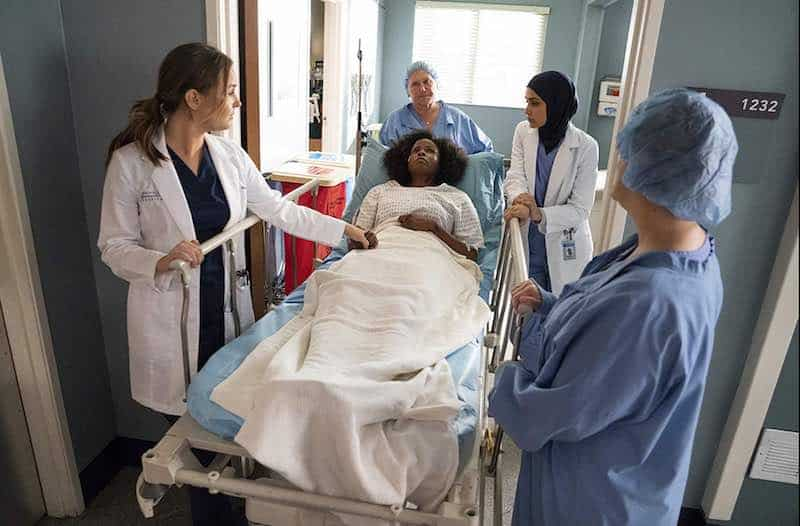Linda Klein, Sophia Ali, Khalilah Joi, Elisabeth Finch, and Camilla Luddington in Grey's Anatomy