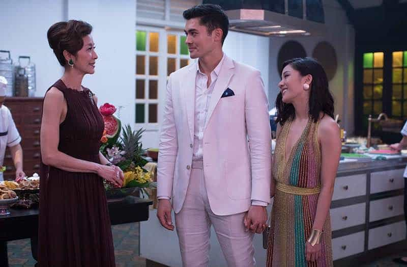 Michelle Yeoh, Constance Wu, and Henry Golding in Crazy Rich Asians