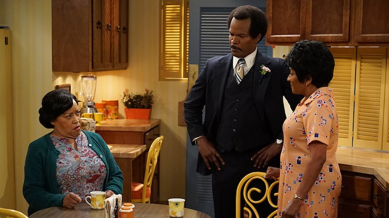 Jackée Harry, Jamie Fox and Wanda Sykes in The Jeffersons