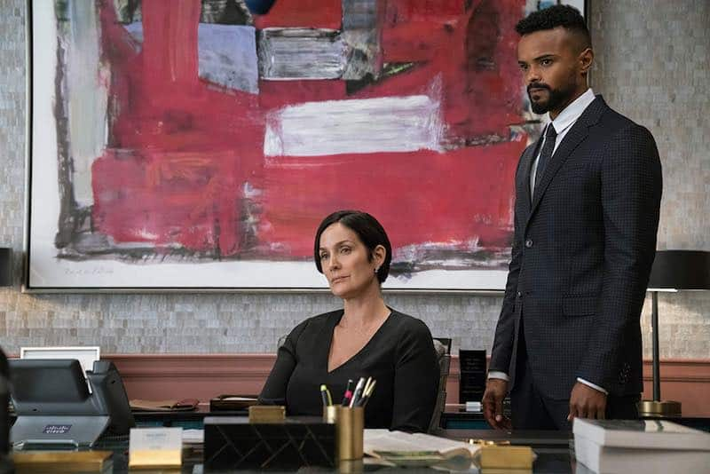 Carrie-Anne Moss and Eka Darville in Jessica Jones