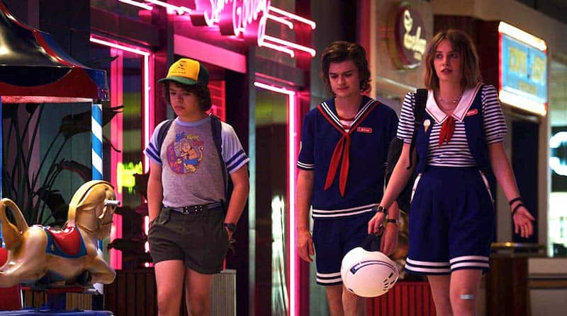 Maya Hawke, Joe Keery, and Gaten Matarazzo in Stranger Things