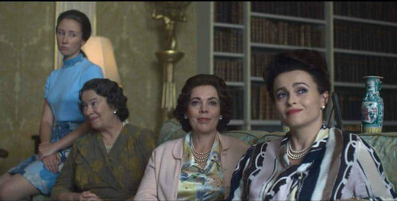 Helena Bonham Carter, Marion Bailey, Olivia Colman, and Erin Doherty in The Crown