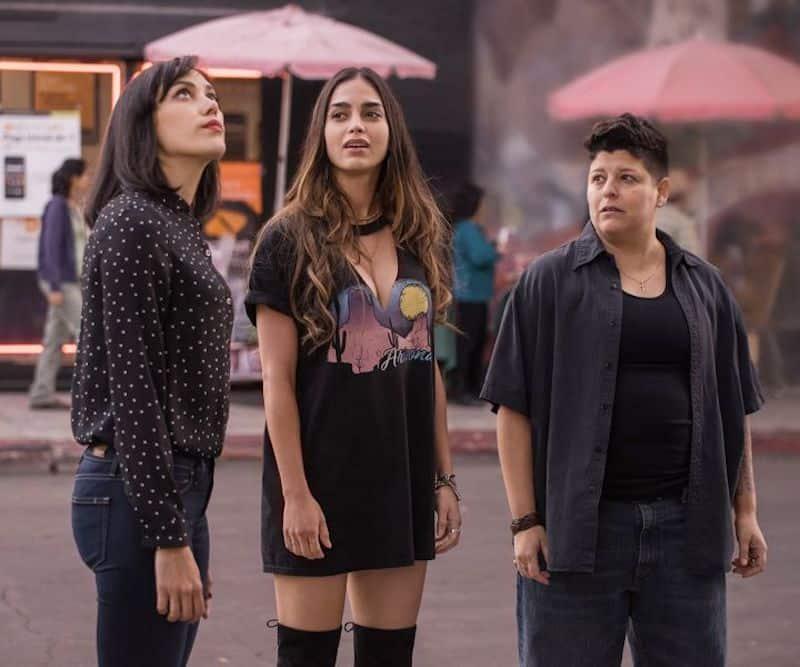 Ser Anzoategui, Mishel Prada, and Melissa Barrera in Vida