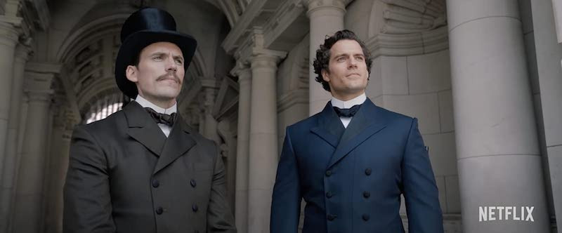 Henry Cavill and Sam Claflin in Enola Holmes