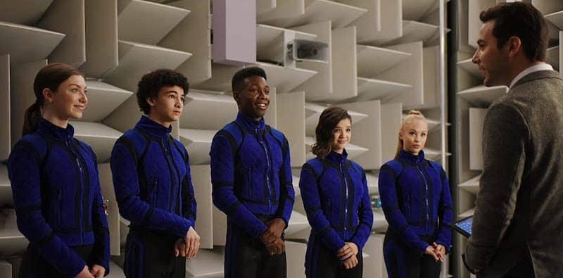 Skylar Astin, Niles Fitch, Isabella Blake-Thomas, Olivia Deeble, Peyton Elizabeth Lee, and Faly Rakotohavana in Secret Society of Second-Born Royals
