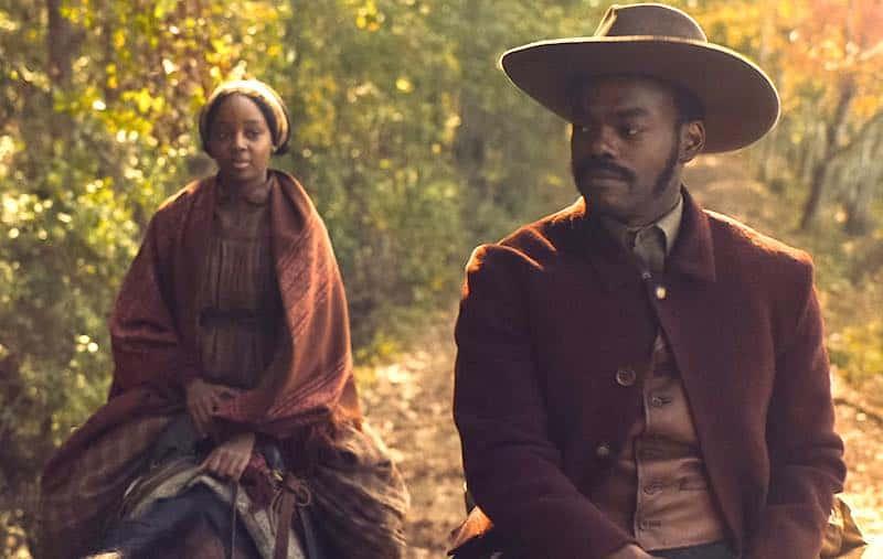 William Jackson Harper and Thuso Mbedu in The Underground Railroad